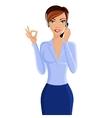 Young woman call center operator vector image