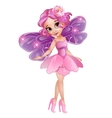 Fairy with wings in pink dress with flower on head vector image