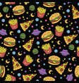 seamless fastfood pattern vector image