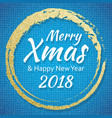 2018 gold and blue card with merry christmas text vector image