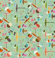 Mushroom Seamless Flat Design Background vector image vector image