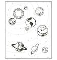 Black drawing solar system vector image vector image