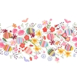 Seamless easter pattern brush with flowers and vector image