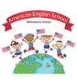 american children holding jumping flags vector image