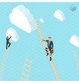 businessmen ladder climbing to the clouds vector image