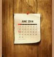 Calendar June 2014 vector image