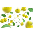 flying yellow cherries background realistic vector image