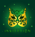 invitation card with green glittery mask vector image