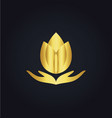 lotus flower meditation spa gold logo vector image