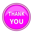 A pink icon with a white inscription Thank you vector image vector image