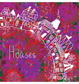 Houses silhouette on the floral background vector image