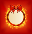 Christmas card with bow lighting background vector image vector image