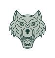 gray wolf head mono line vector image vector image