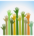 colorful up hands for your design vector image