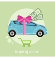 Gift car and red ribbon vector image vector image