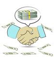 handshake creating money vector image