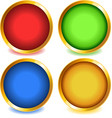 Colorful buttons with gold bevel-set1 vector image