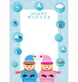 Boy and Girl in Winter Season Frame vector image