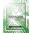 Exotic background with palm leaves and frame for vector image