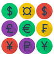 set of colored flat icons with currency symbols vector image