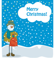 snowman with red bag vector image