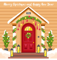 New Year Card With House Decorated For Christmas vector image
