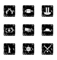 Country USA icons set grunge style vector image