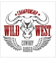 Wild west championship - cowboy rodeo vector image