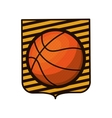 basketball tournament emblem with ball vector image