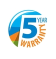 logo 5 years warranty vector image