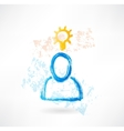 Person with lamp grunge icon vector image