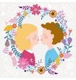 Kids couple kissing vector image