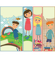Four cute colorful banners with kids playing vector image