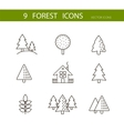Forest icons set  Trees icons vector image