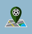 soccer ball map pin with map vector image