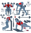 Sportsman pumping muscles fitness club vector image