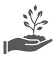 sprout in hand glyph icon farming and agriculture vector image