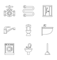 Bathroom icons set outline style vector image