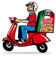 delivery service man ride a scooter vector image