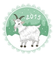 Card with grey-green snowflake and goat symbol of vector image vector image