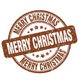 merry christmas brown grunge round vintage rubber vector image