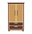 brown wooden cartoon simple wardrobe isolated flat vector image