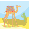 Camel with cactus in the desert vector image