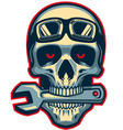 skull rider bite a wrench vector image vector image