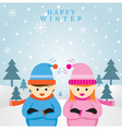 Boy and Girl in Winter Season Background vector image