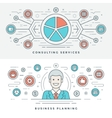 Flat line Business Planning and Consulting vector image
