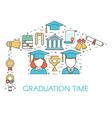 Graduation Time Lineart Concept vector image