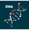 DNA formed of healthcare or medicine icons vector image