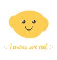 Cartoon doodle yellow lemon character vector image