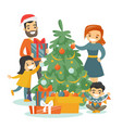 caucasian family decorating the christmas tree vector image